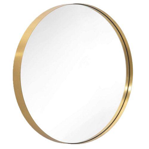 Espejo De Pared Metalico Cuero 40CM Dorado