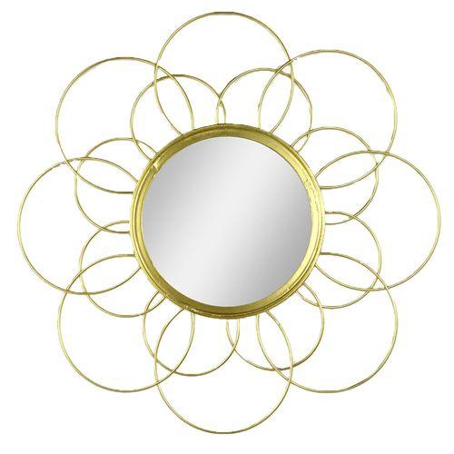 Espejo De Pared Metalico Flor 41CM Dorado